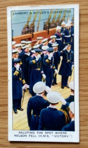 A cigarette card showing the Salute to Nelson on HMS Victory