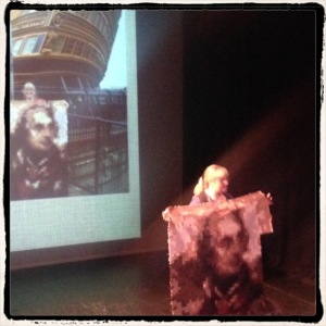 Explaining the Nelson Quilt Project at the Performing Stardom Symposium, 29 May 2015. Photo courtesy of Dr Catherine O'Rawe