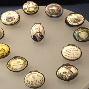Commemorative Nelson Pill Boxes on display at the National Museum of the Royal Navy, Portsmouth