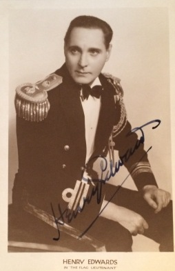 A signed postcard of Henry Edwards in his 1926 hit, The Flag Lieutenant