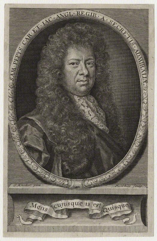 NPG D30958;  Samuel Pepys by Robert White, after Sir Godfrey Kneller, Bt