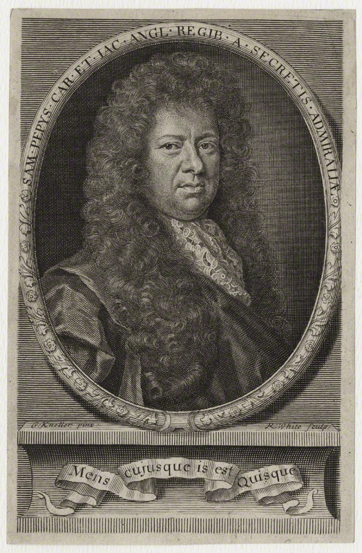 NPG D30958;  Samuel Pepys by Robert White, after Sir Godfrey Kneller, Bt
