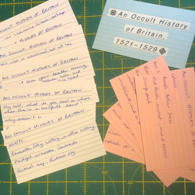 Index Cards with notes relating to An Occult History of Britain